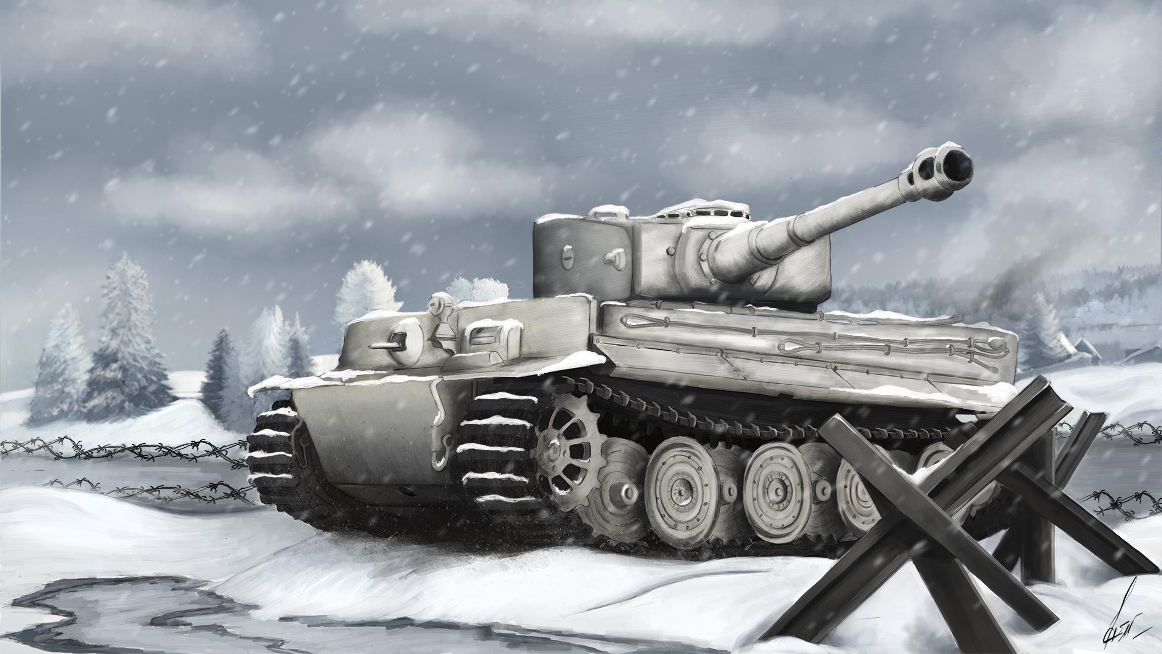 рисунок Тигр в снегах