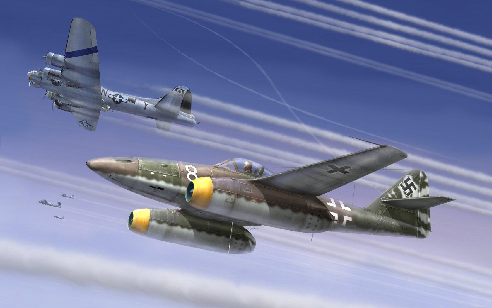рисунок Me-262 & B-17