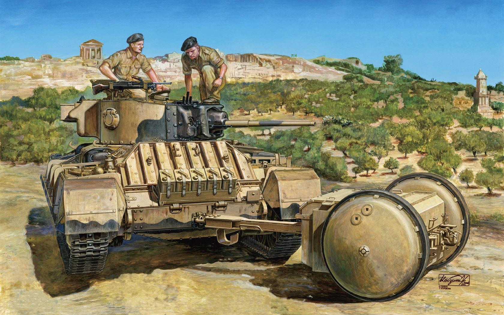 рисунок Valentine Mk.III w/Rotatrailer