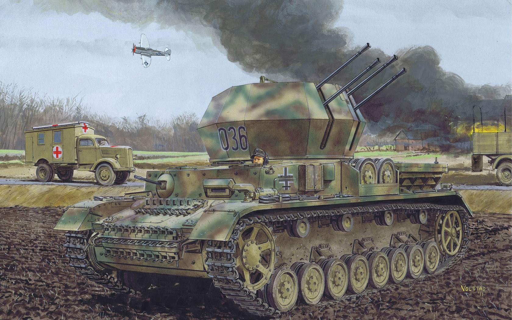 рисунок SdKfz 161/4 2cm Flakpanzer IV WirbelWind