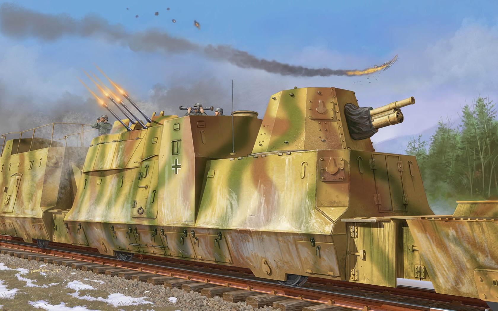 рисунок Kanonen und Flakwagen