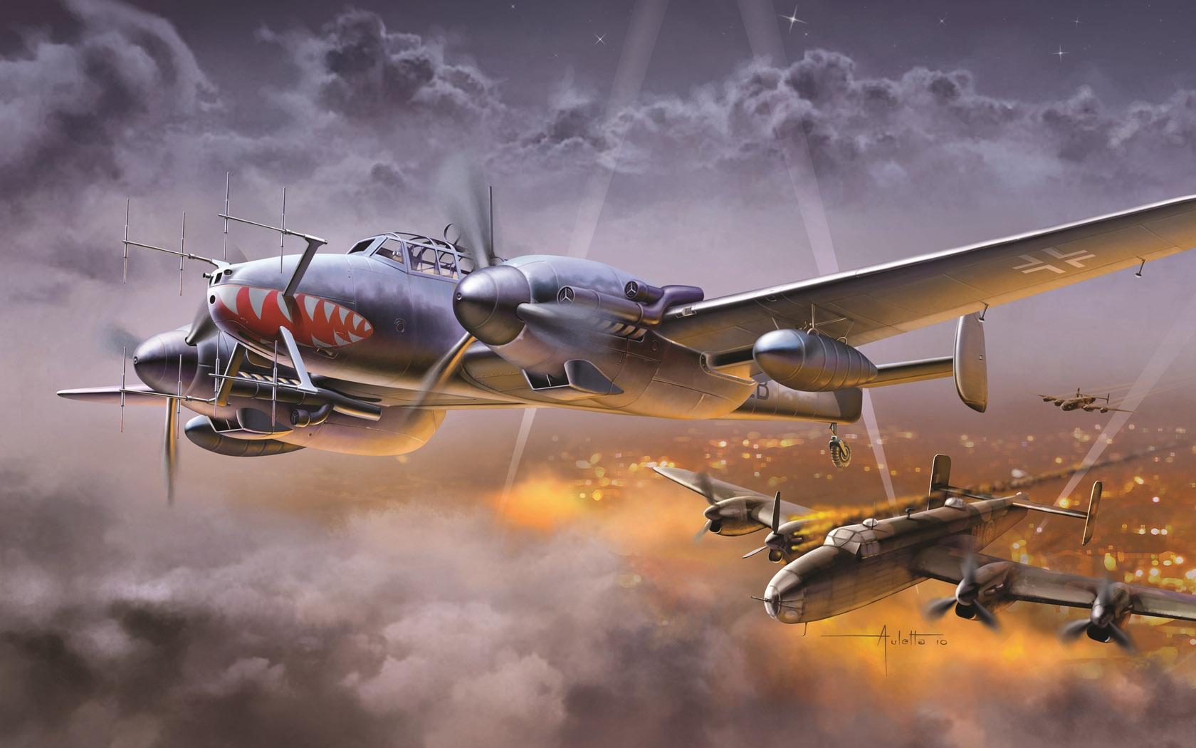 рисунок Bf-110 сбил британский бомбардировщик