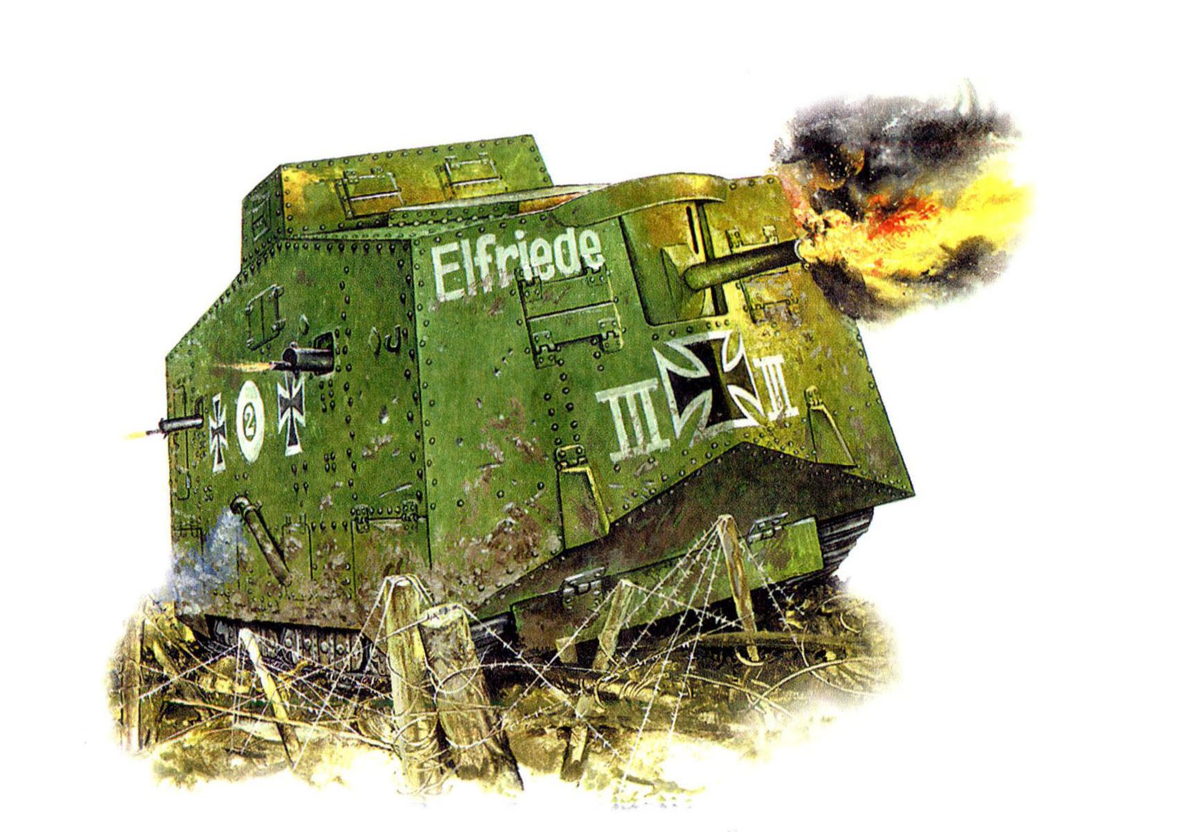 рисунок танк Первой мировой A7V