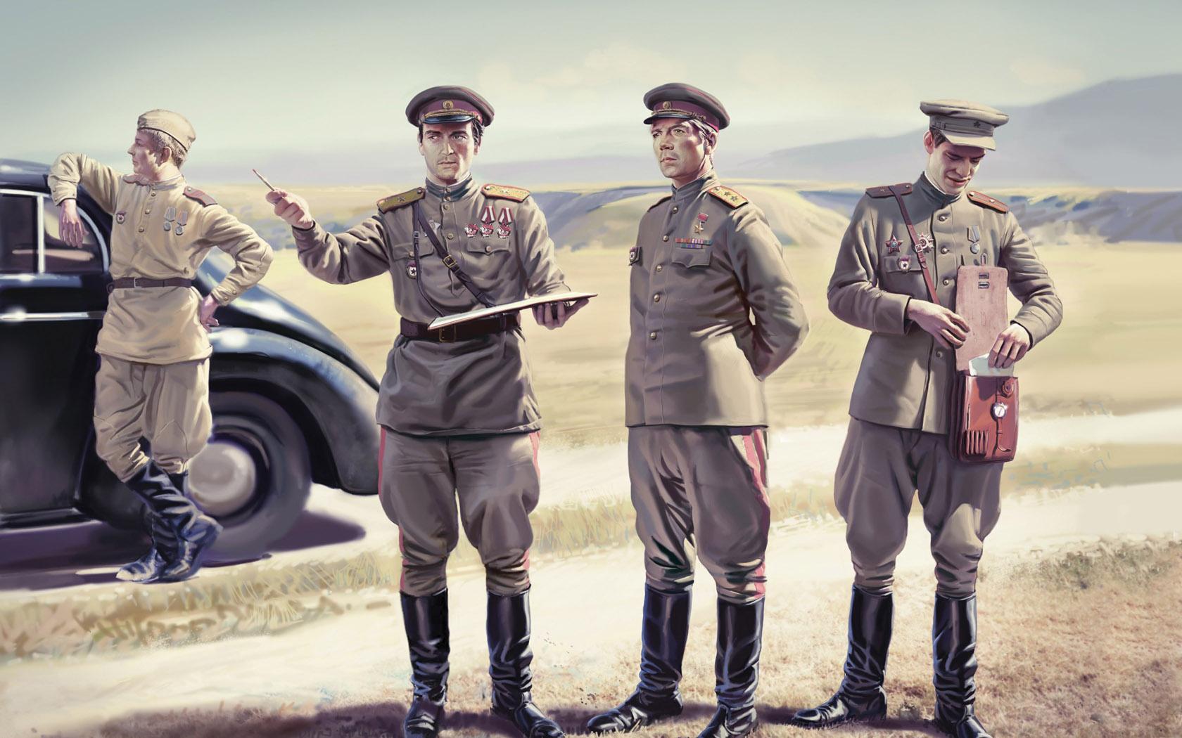рисунок советские офицеры