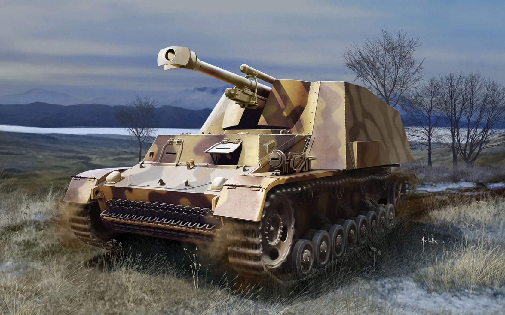 рисунок Sd.Kfz. 165 Hummel-Wespe