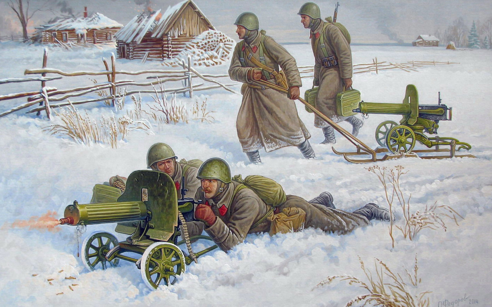 рисунок Советский пулеметный расчет