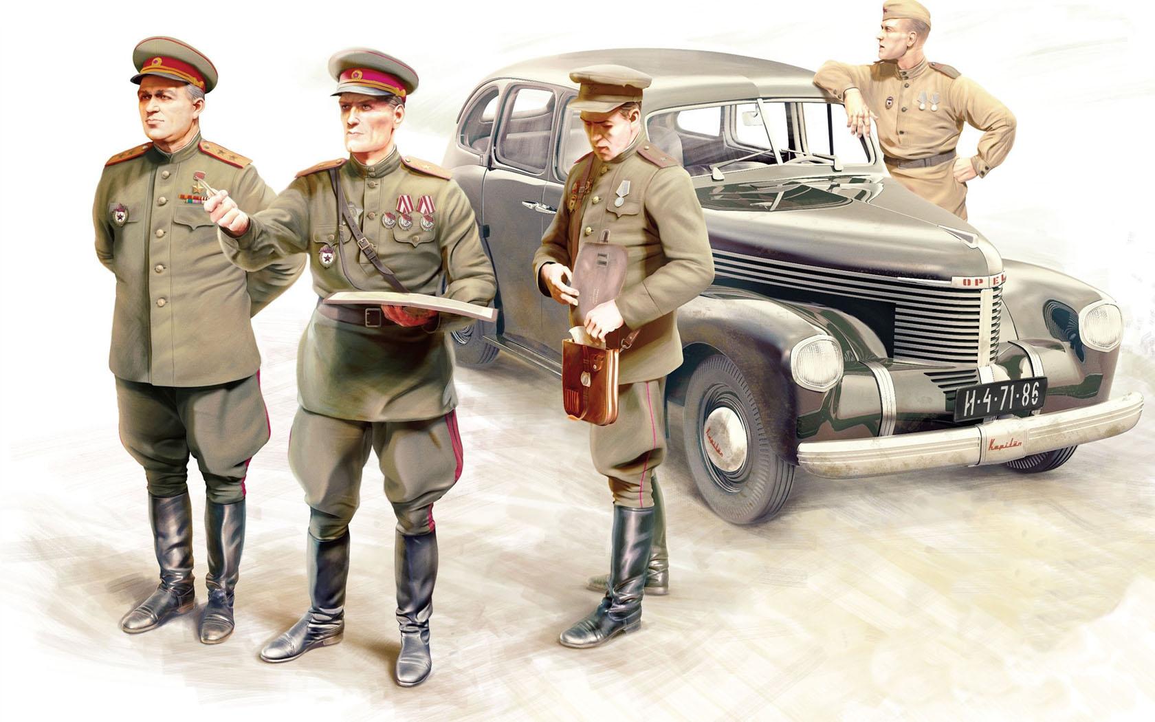 рисунок офицеры СССР и Opel Kapitan