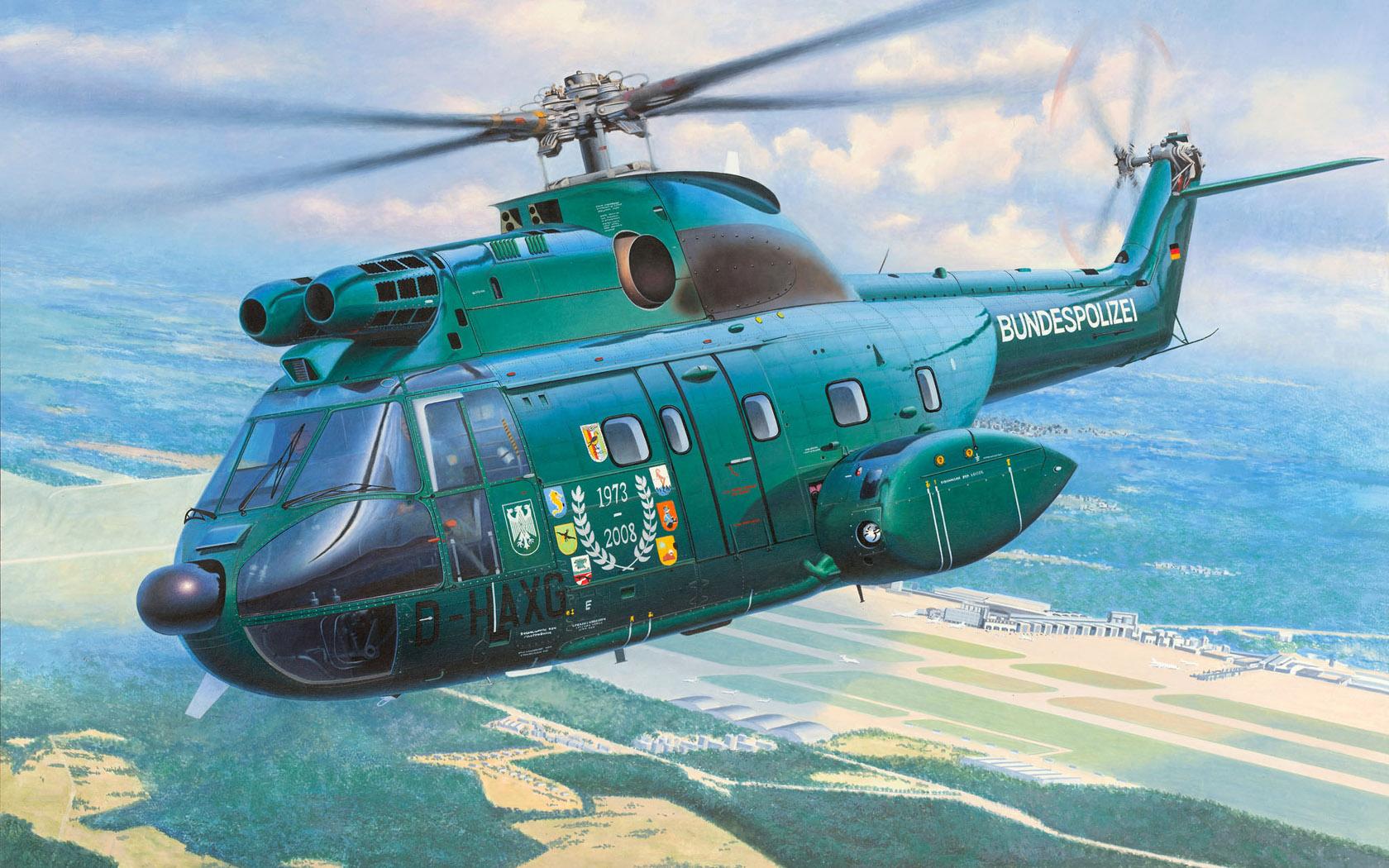 "рисунок Aérospatiale SA 330J ""Puma"" Bundespolizei"