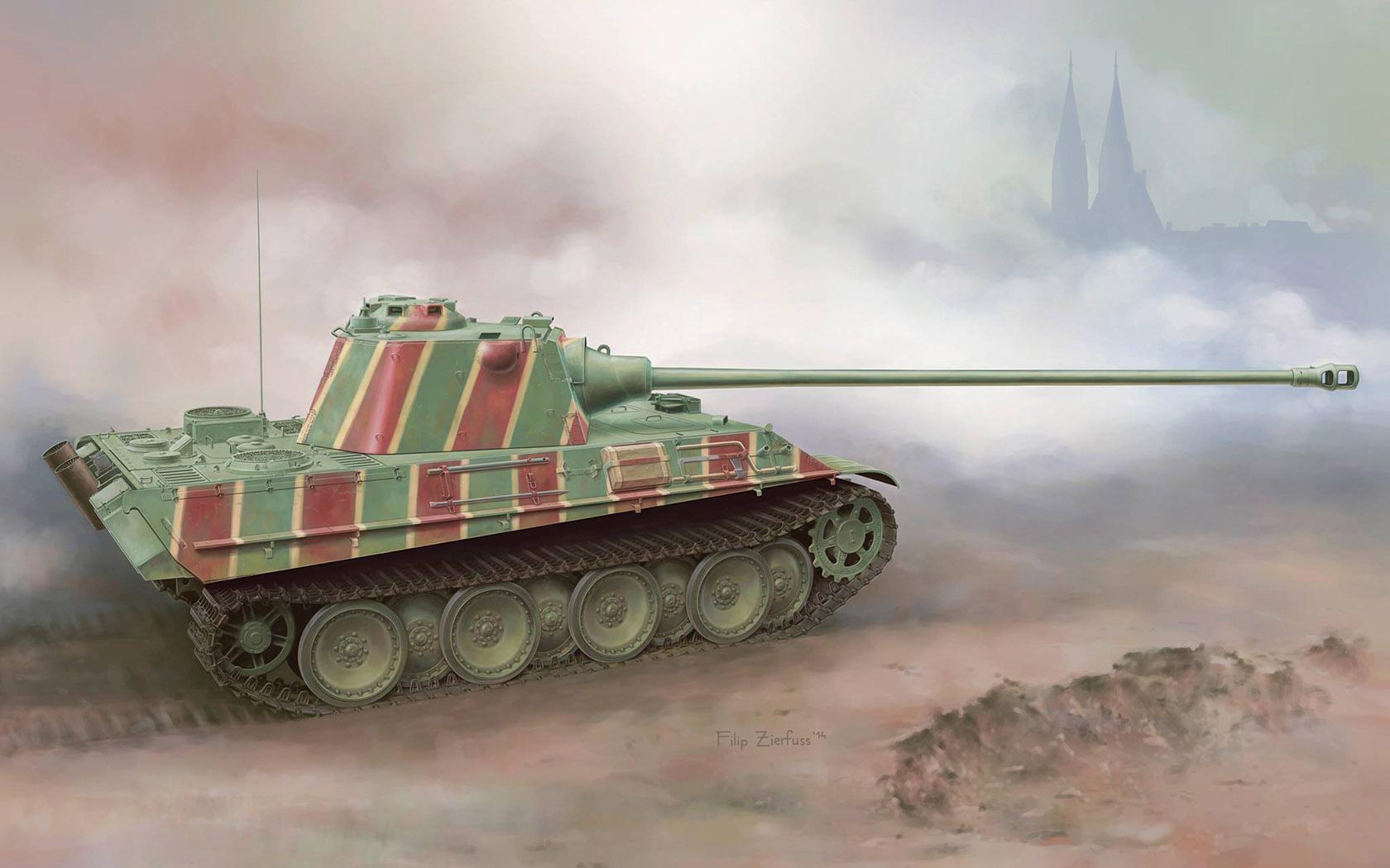 рисунок Sd Kfz 171 Panther Ausf F w/7,5cm KwK42 L/100