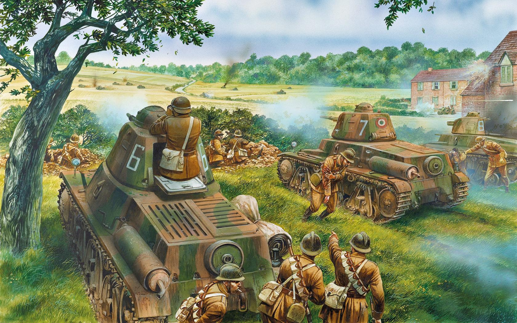 рисунок французы отражают немецкую танковую атаку
