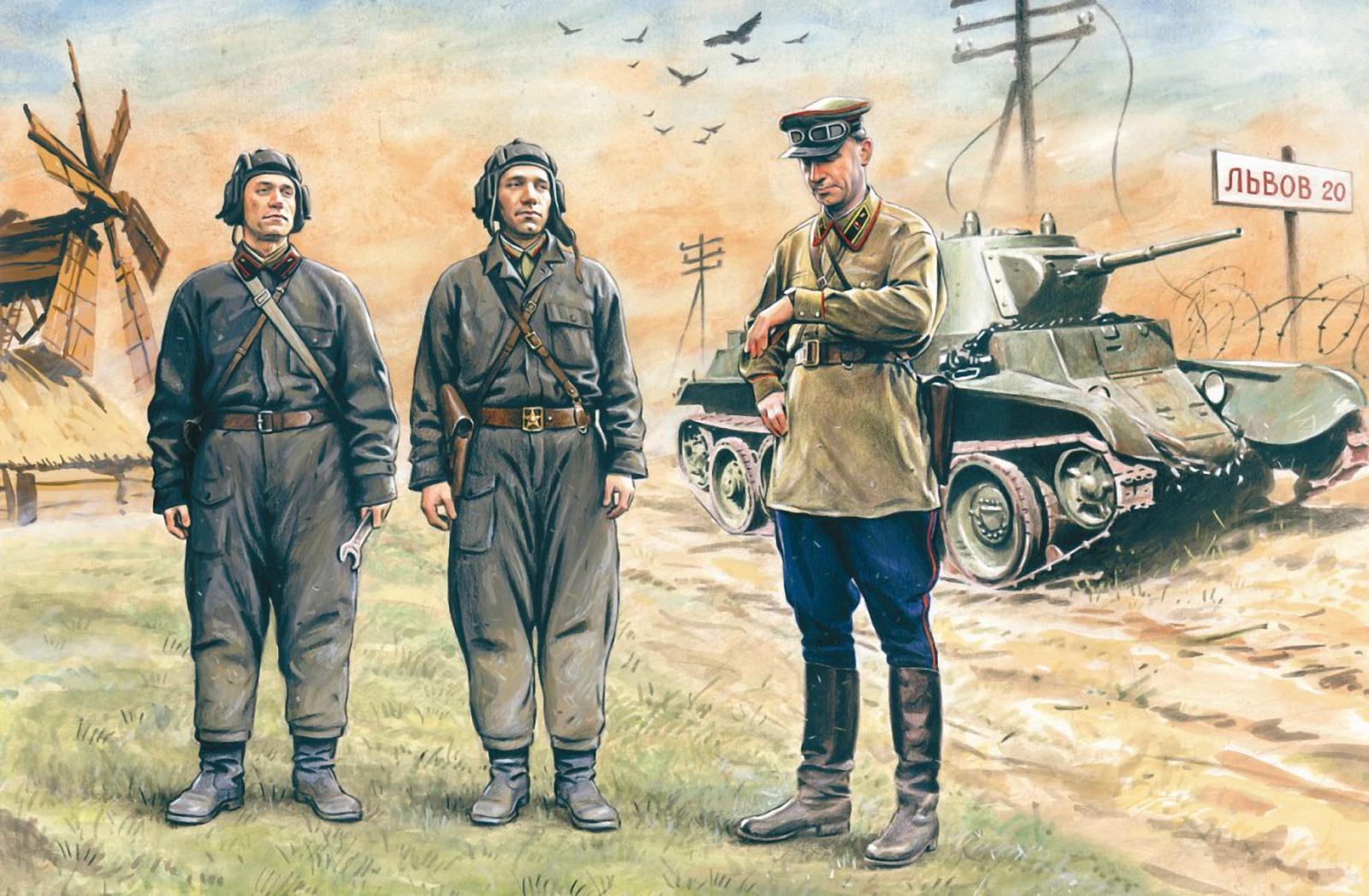 рисунок советский экипаж танка