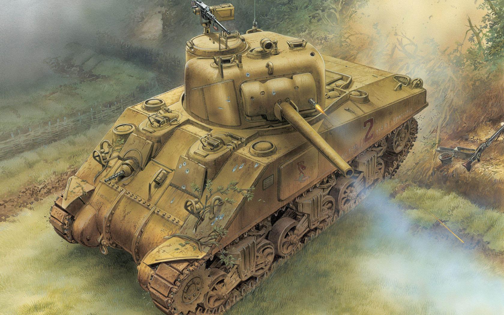 рисунок M4 Sherman 75mm Normandy