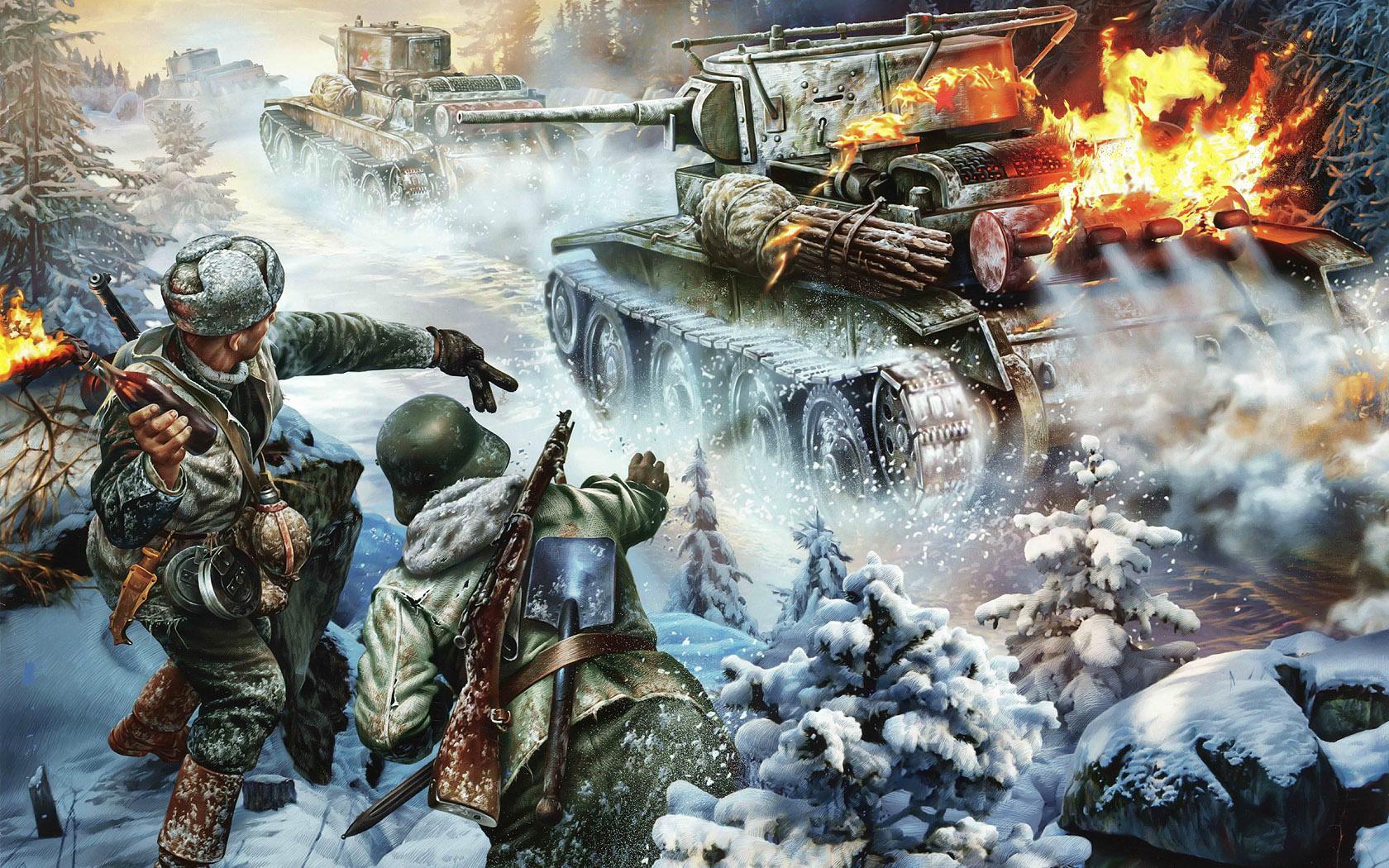рисунок поджигают танки