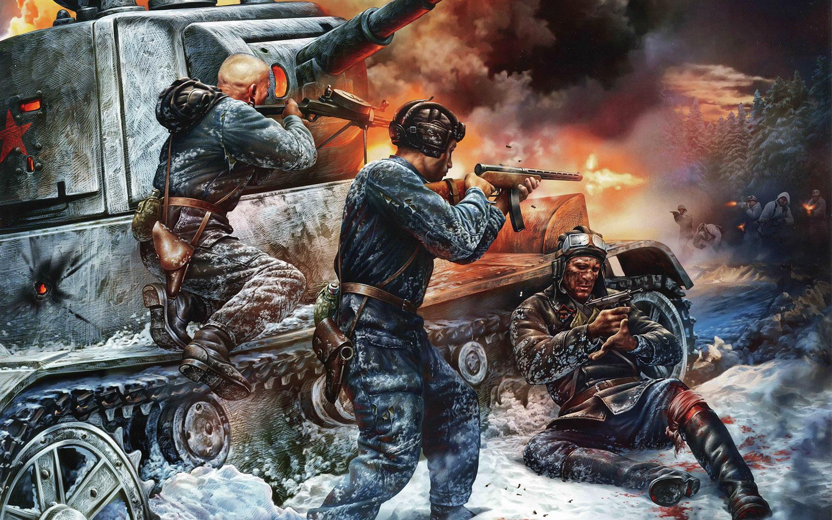 рисунок перестрелка у подбитого танка