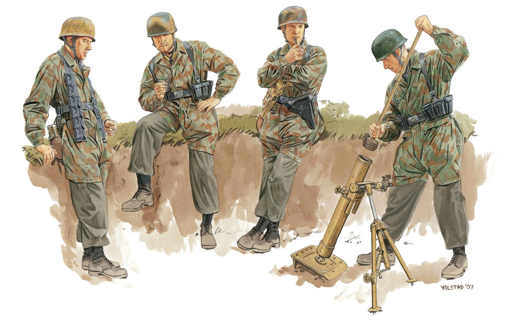 рисунок немецкие десантники с минометом