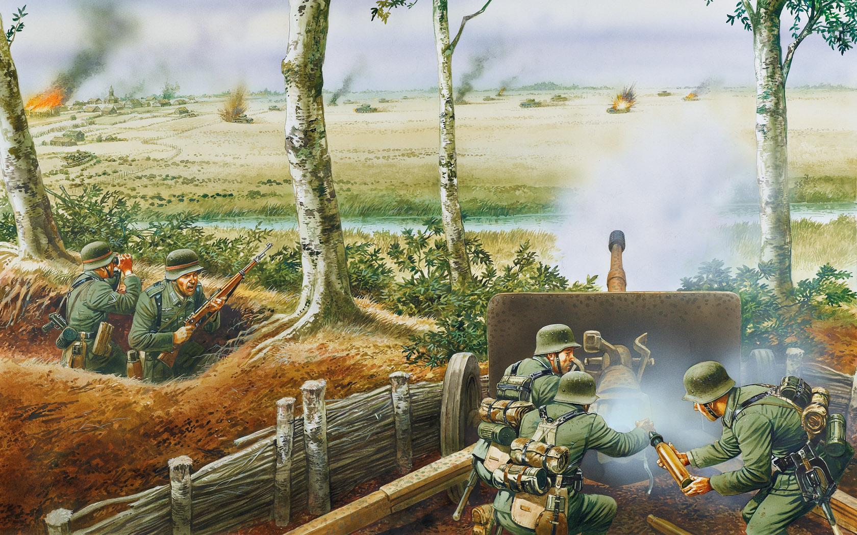 рисунок отражение атаки танков КВ