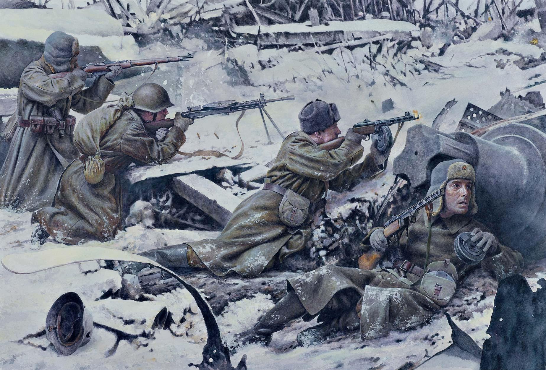 рисунок красноармейцы в ходе уличных боев в Сталинграде