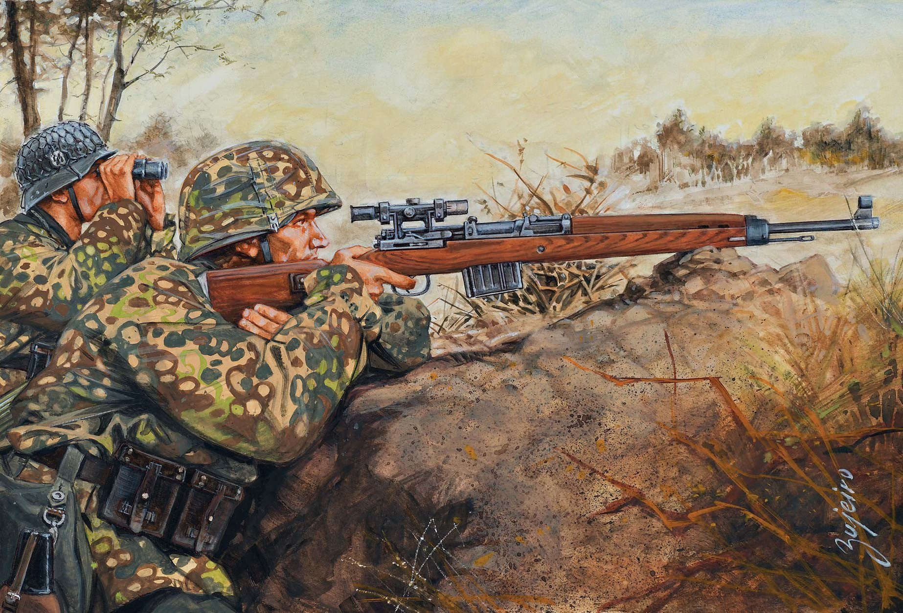 рисунок Sniping with the Gew 43