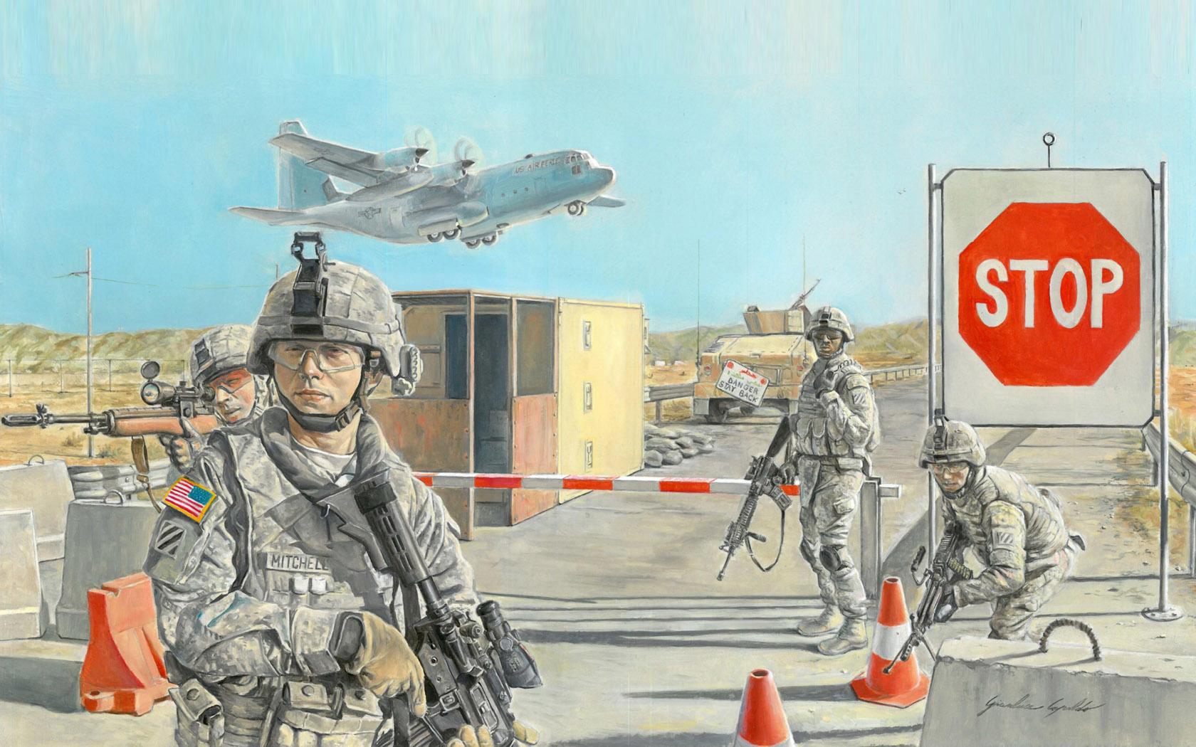 рисунок Road block and US soldiers