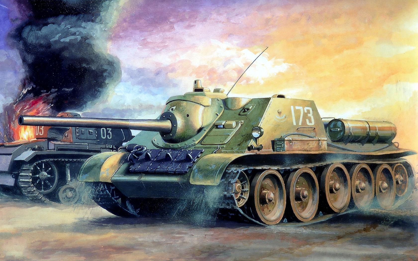 рисунок СУ-85 в бою