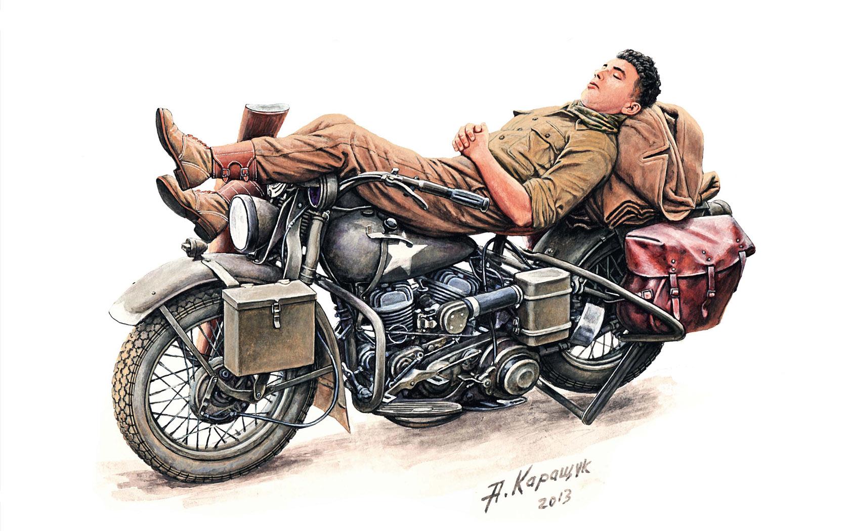 рисунок REST ON MOTORCYCLE