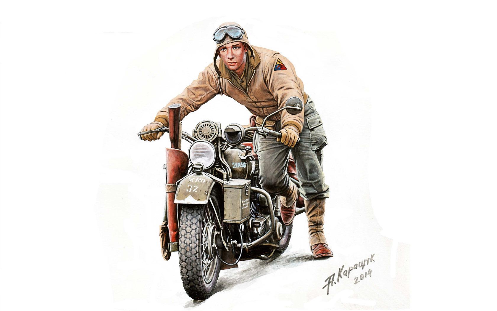 рисунок U.S. SOLDIER PUSHING MOTORCYCLE