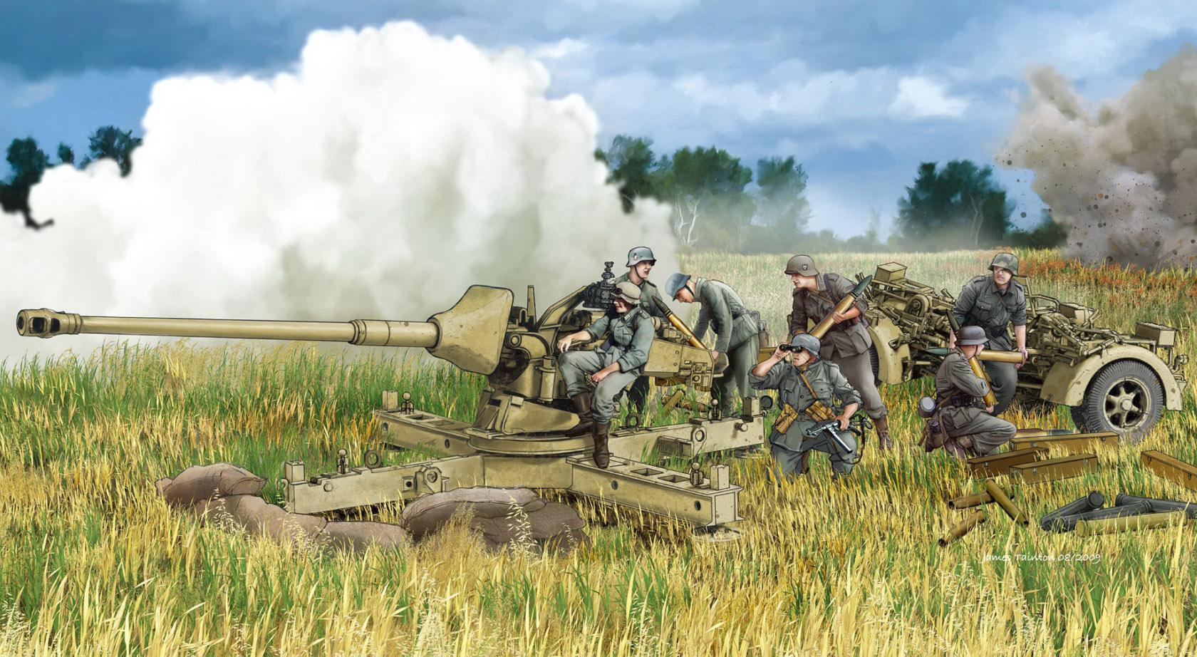 рисунок Pak 43/3 L/71 mit Behelfslafette