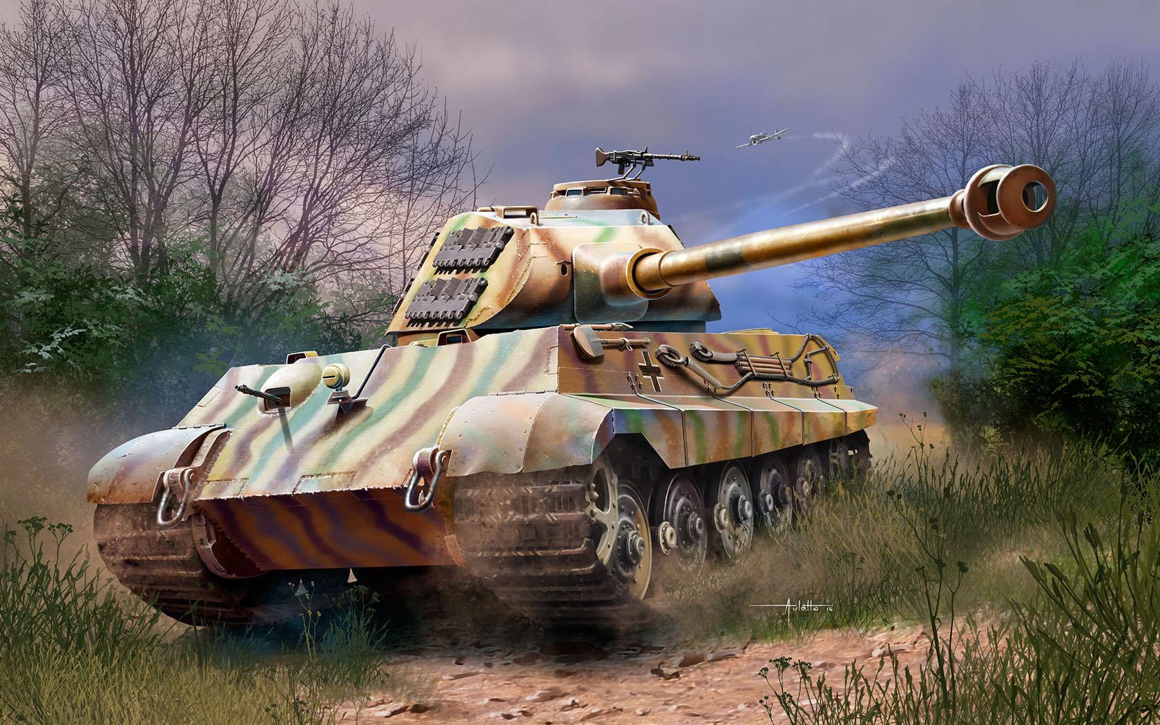 рисунок Немецкий тяжелый танк Pz.Kpfw. VI Ausf. B Tiger II