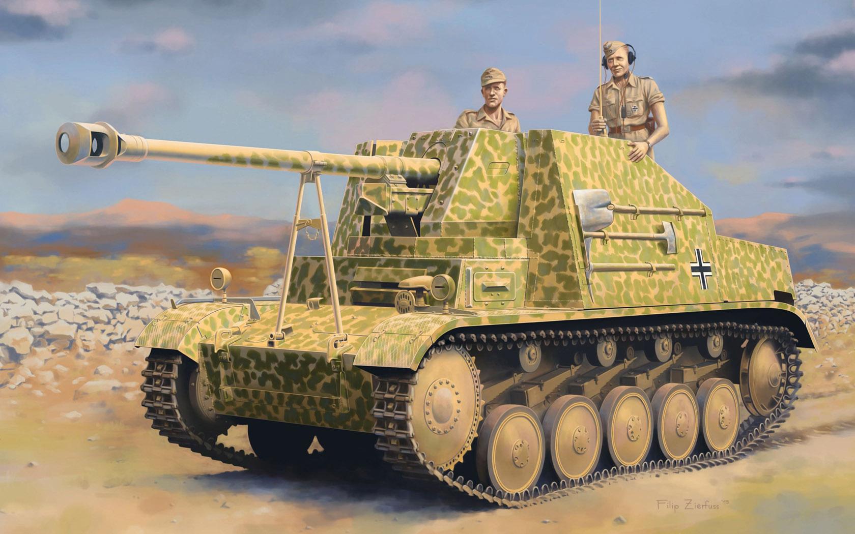 рисунок Sd.Kfz.131 Panzerjager II for PaK 40/2 Marder II