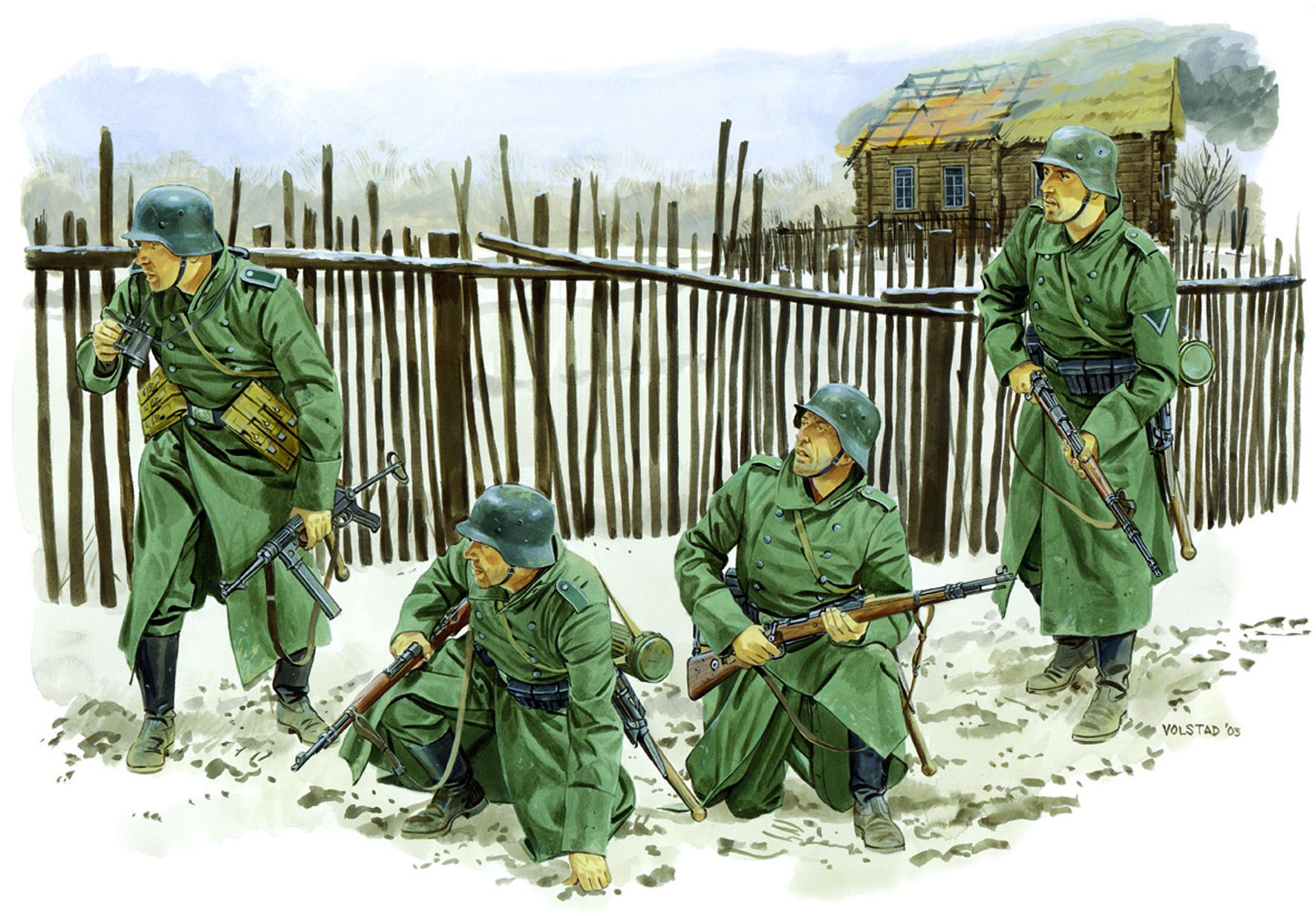 рисунок Немецкая пехота, зима 1941-1942 гг.