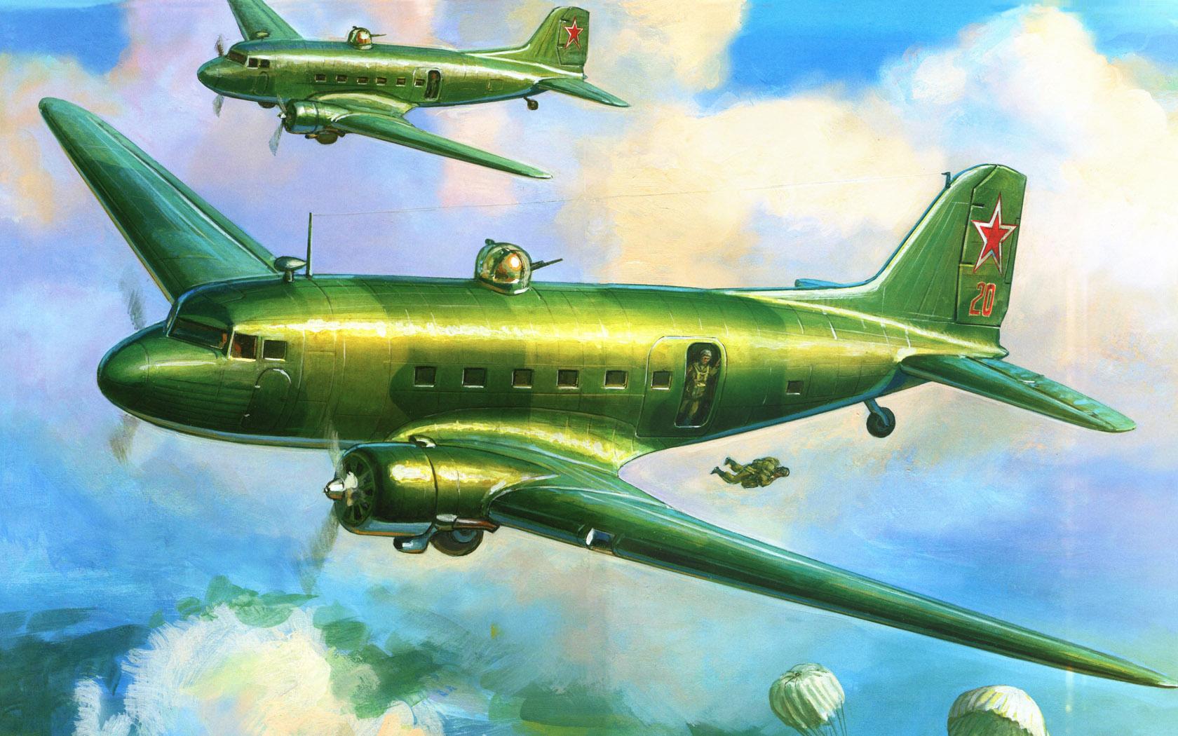 рисунок транспортный самолет Ли-2