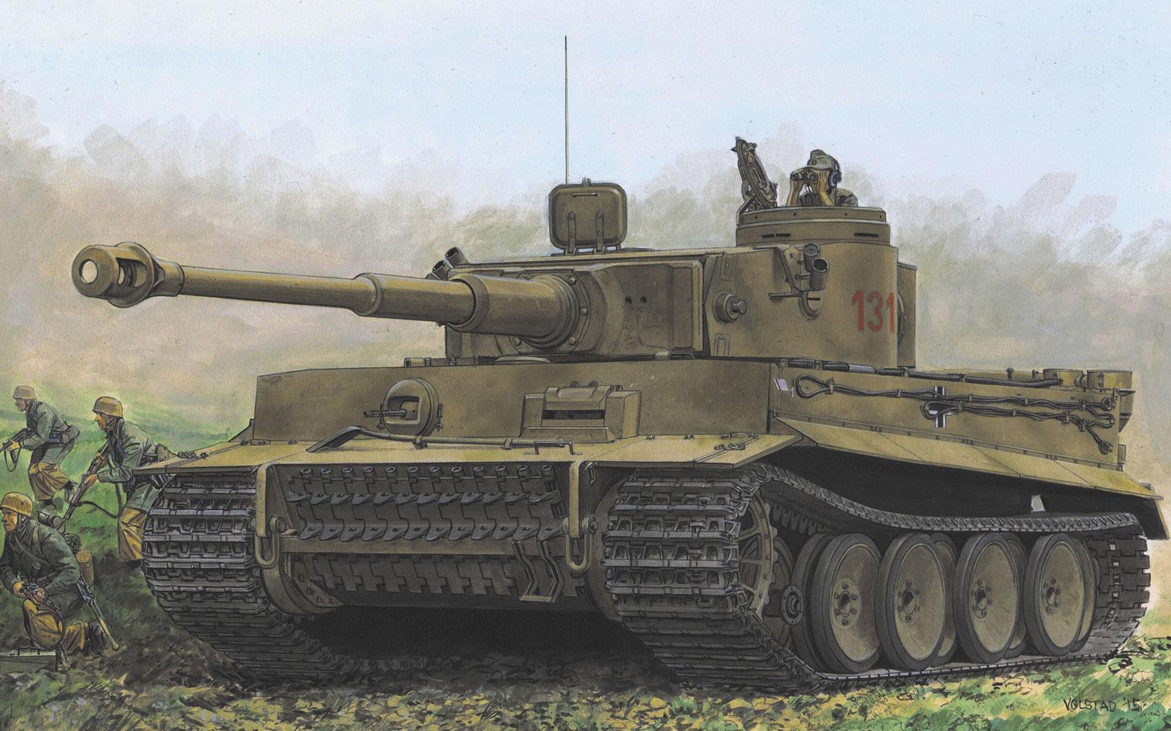 """рисунок Pz.Kpfw.VI Ausf.E Tiger I """"131"""" Early Production"""
