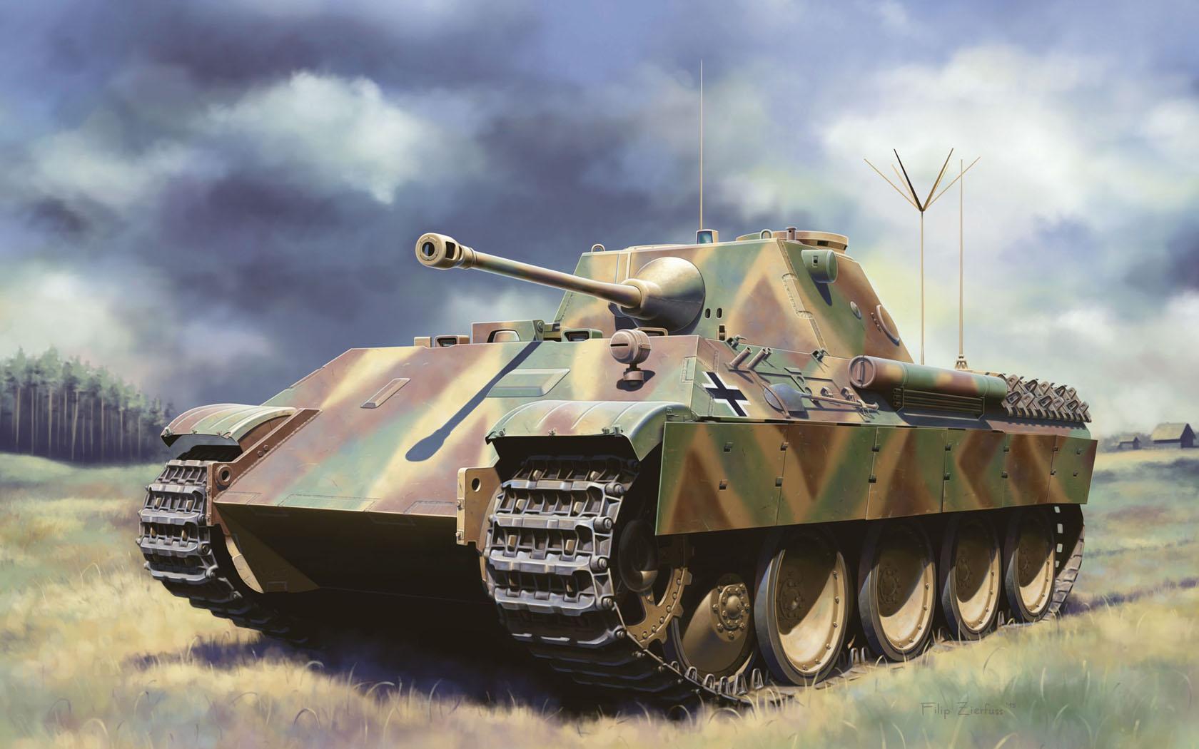 рисунок Pz.Beob.Wg.V Panther with 5cm Kw.K.39/1
