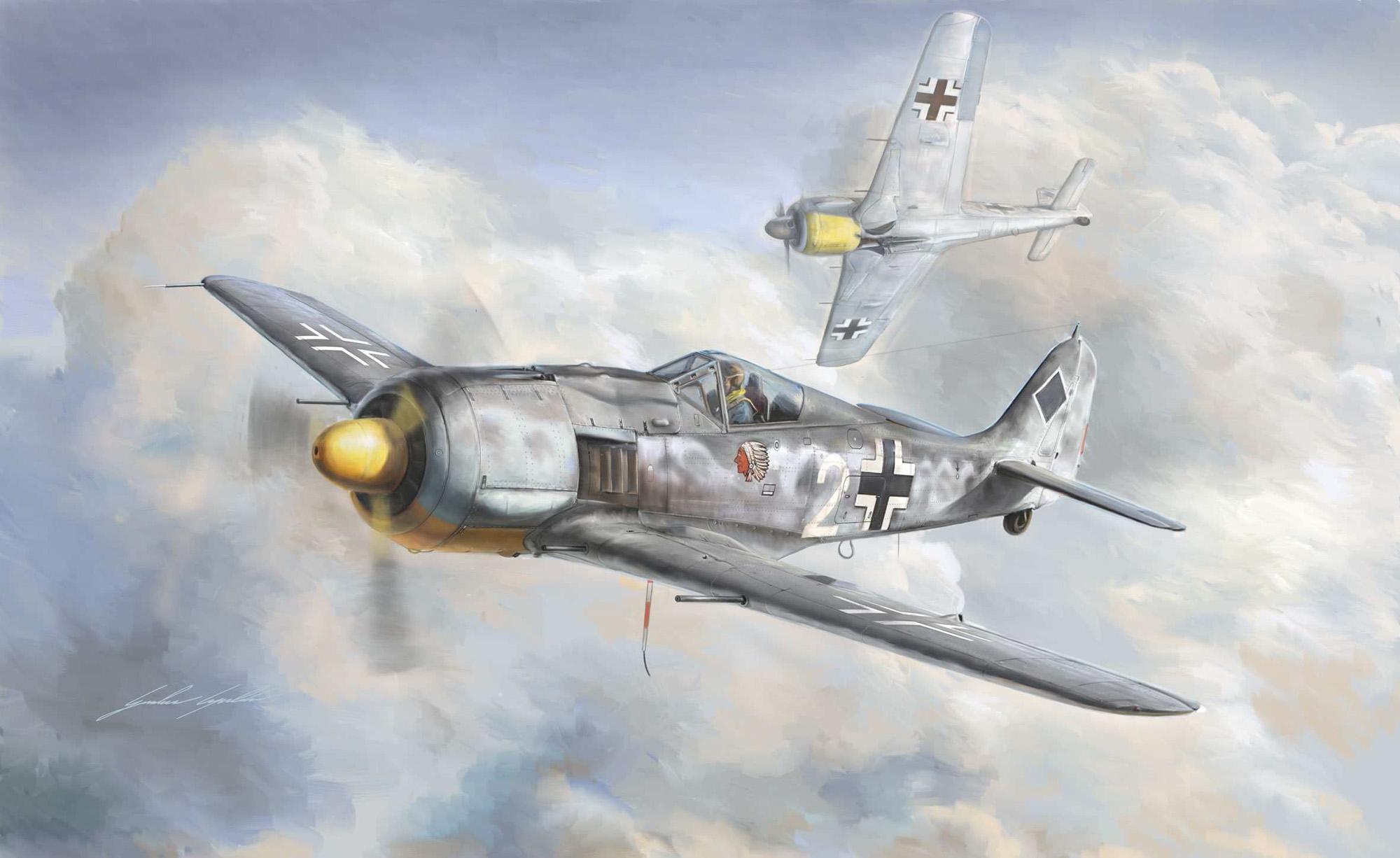 рисунок истребитель Fw-190A-8