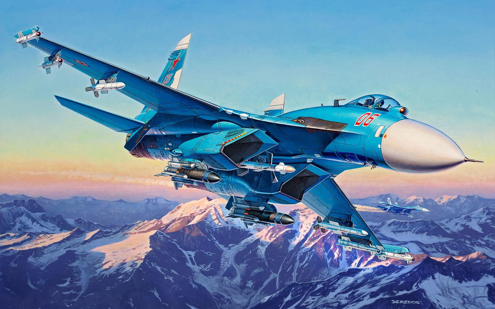 рисунок истребитель Су-27СМ