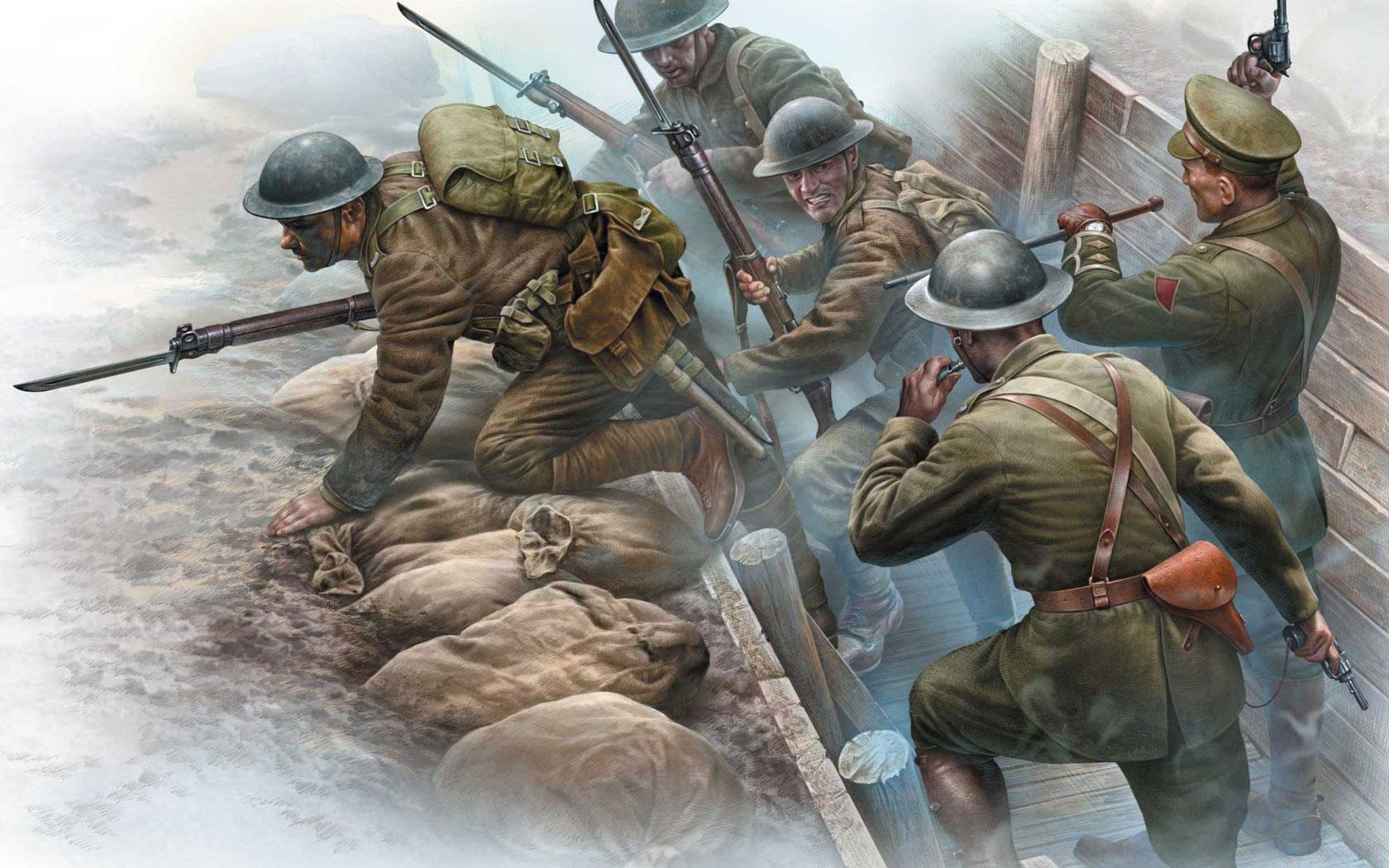 рисунок British Infantry before attack