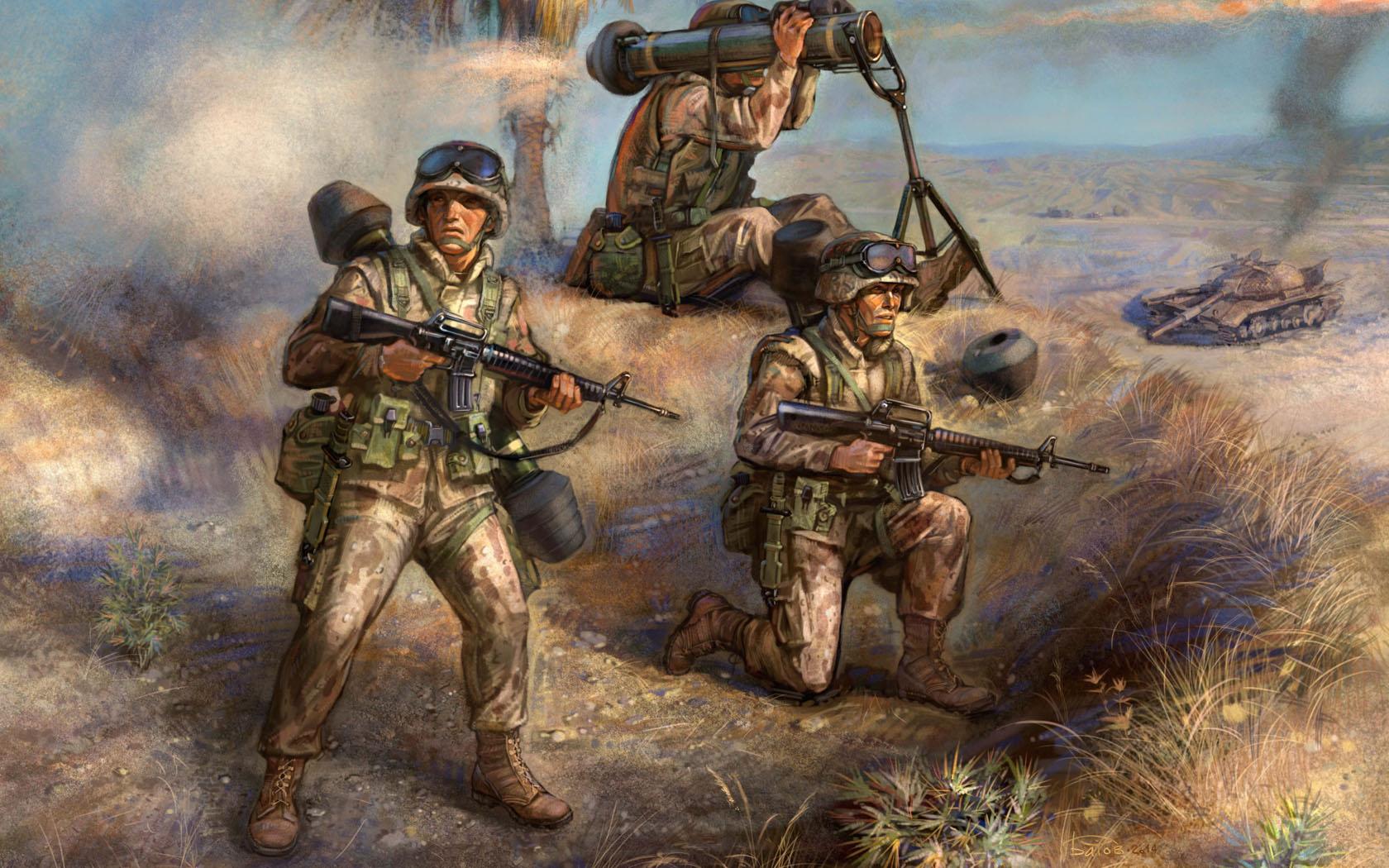 """рисунок противотанковвый расчет с М-47 """"Дракон"""""""