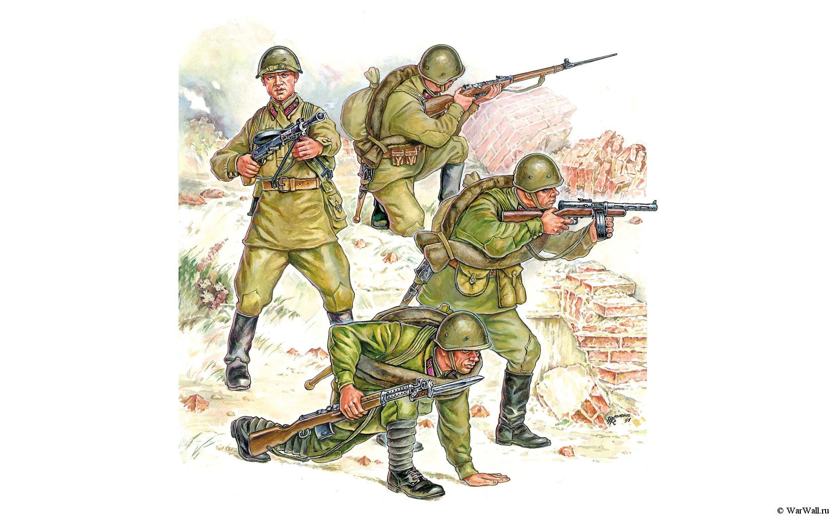 рисунок советская пехота №2