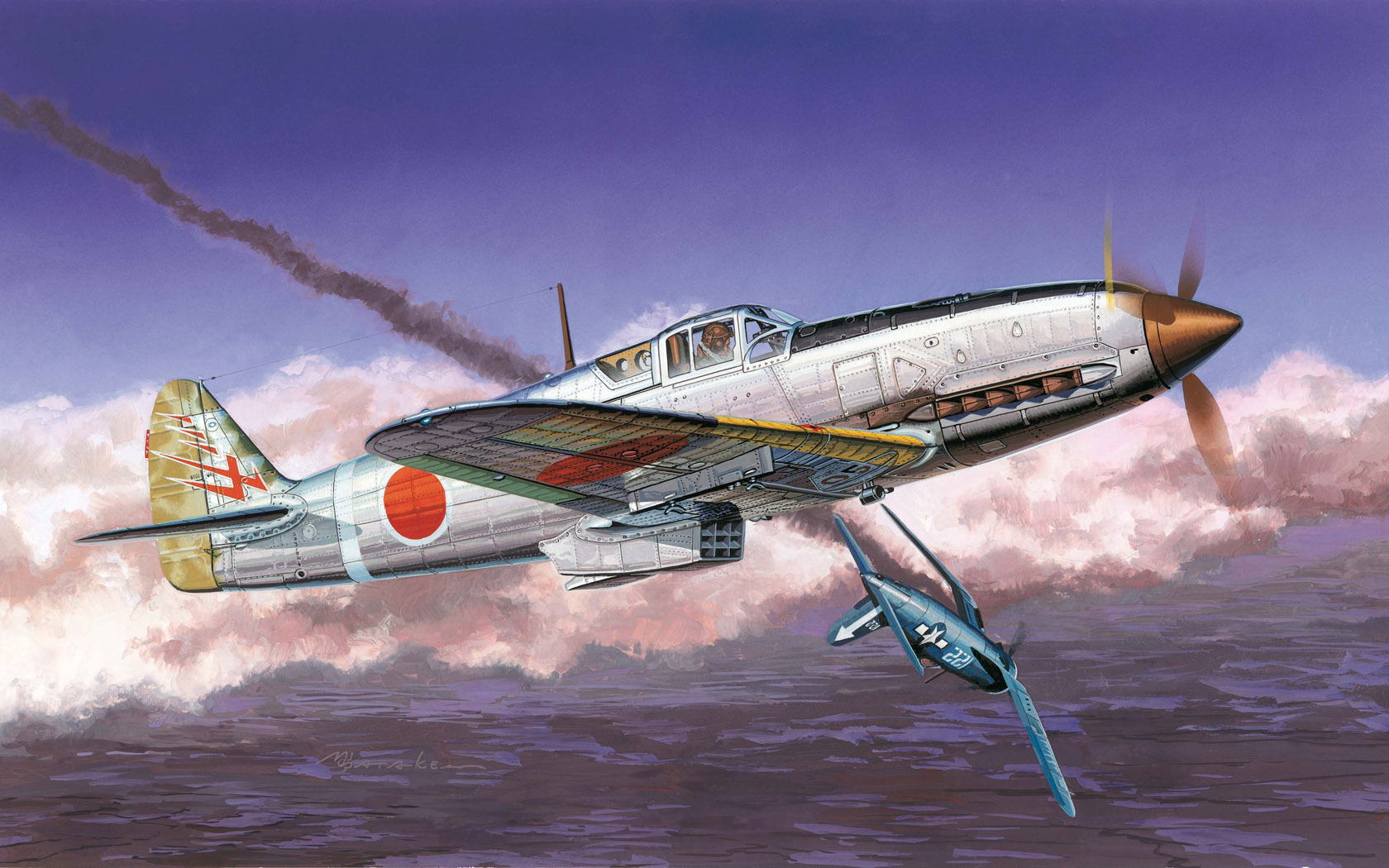 рисунок Kawasaki IJA Type 3 Fighter Ki61-1 Hien (Tony)