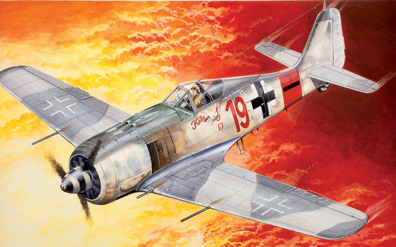 "рисунок Fw 190A-8 ""Rote 19"" унтер-офицера Эрнста Шредера"