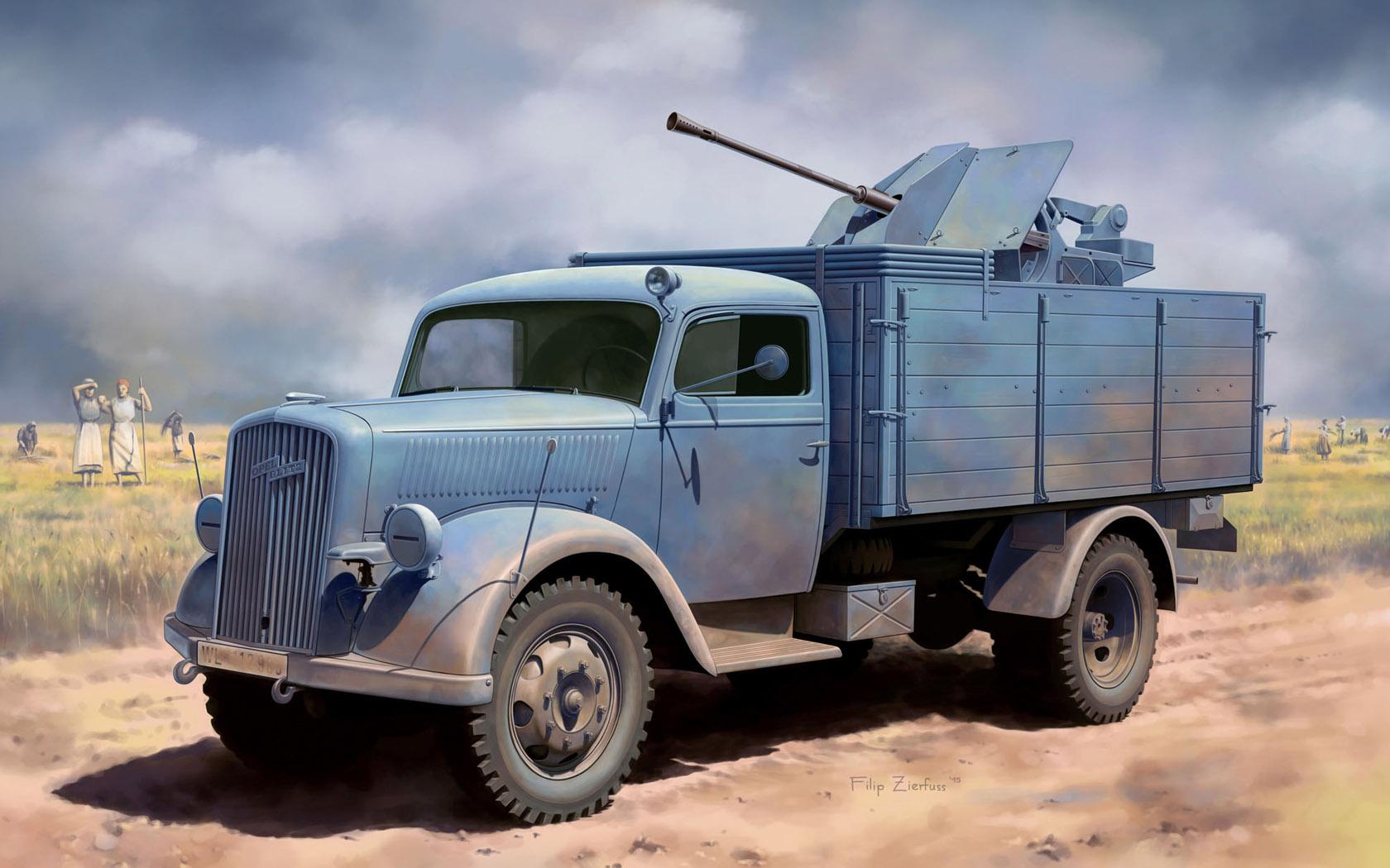 рисунок German 3t 4x2 Truck w/2cm FlaK 38