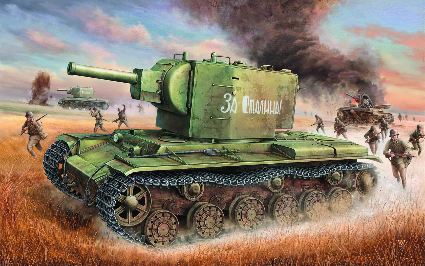 рисунок КВ-2 в наступлении