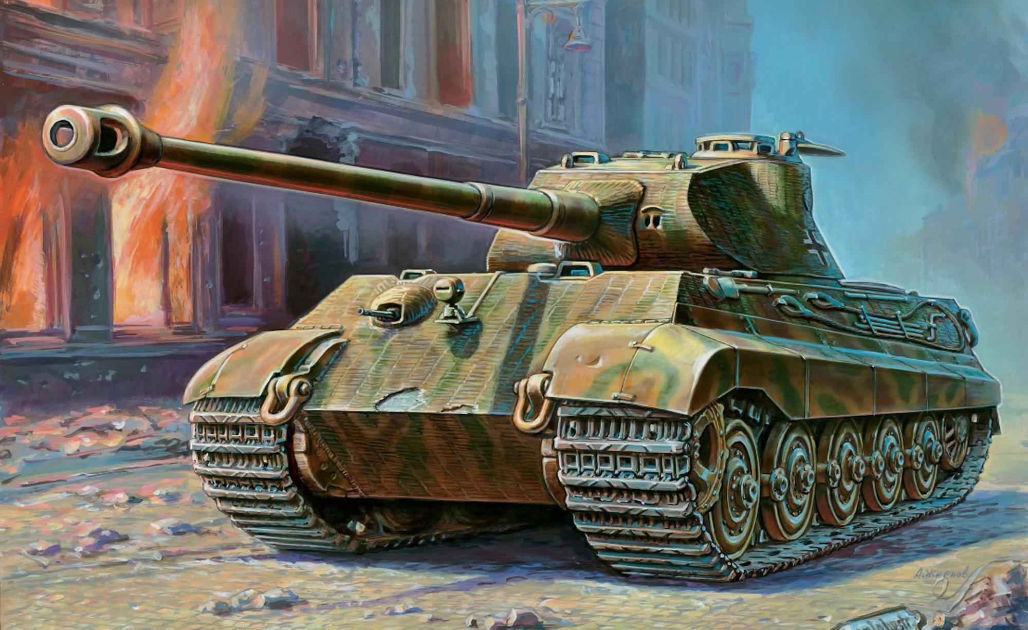рисунок Королевский Тигр с башней Порше