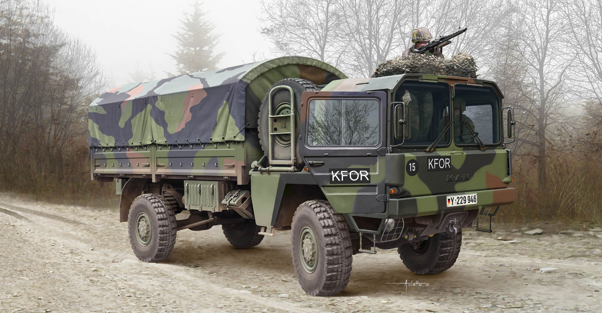 рисунок Fighting Vehicle German MAN-5 Military Truck