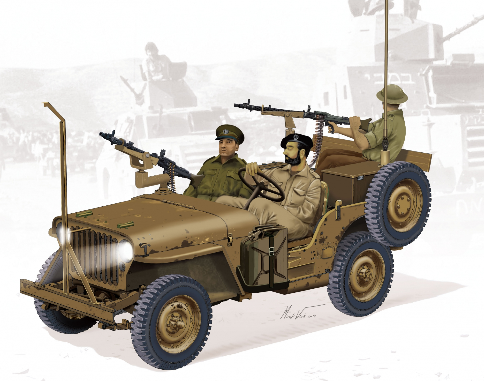 рисунок IDF 1/4-Ton 4x4 Truck w/MG-34 Machine Guns