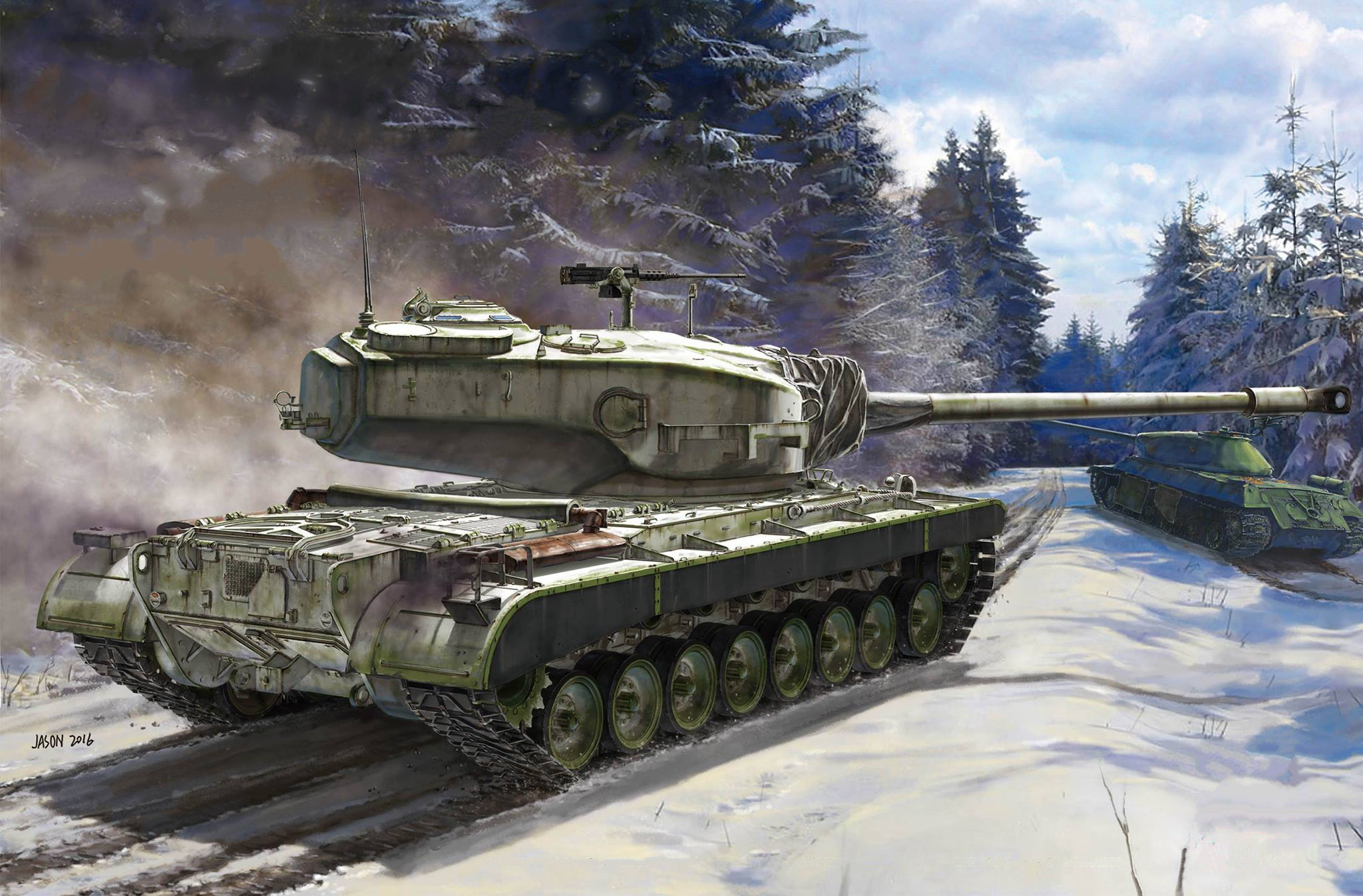 рисунок T30/34 US Heavy Tank