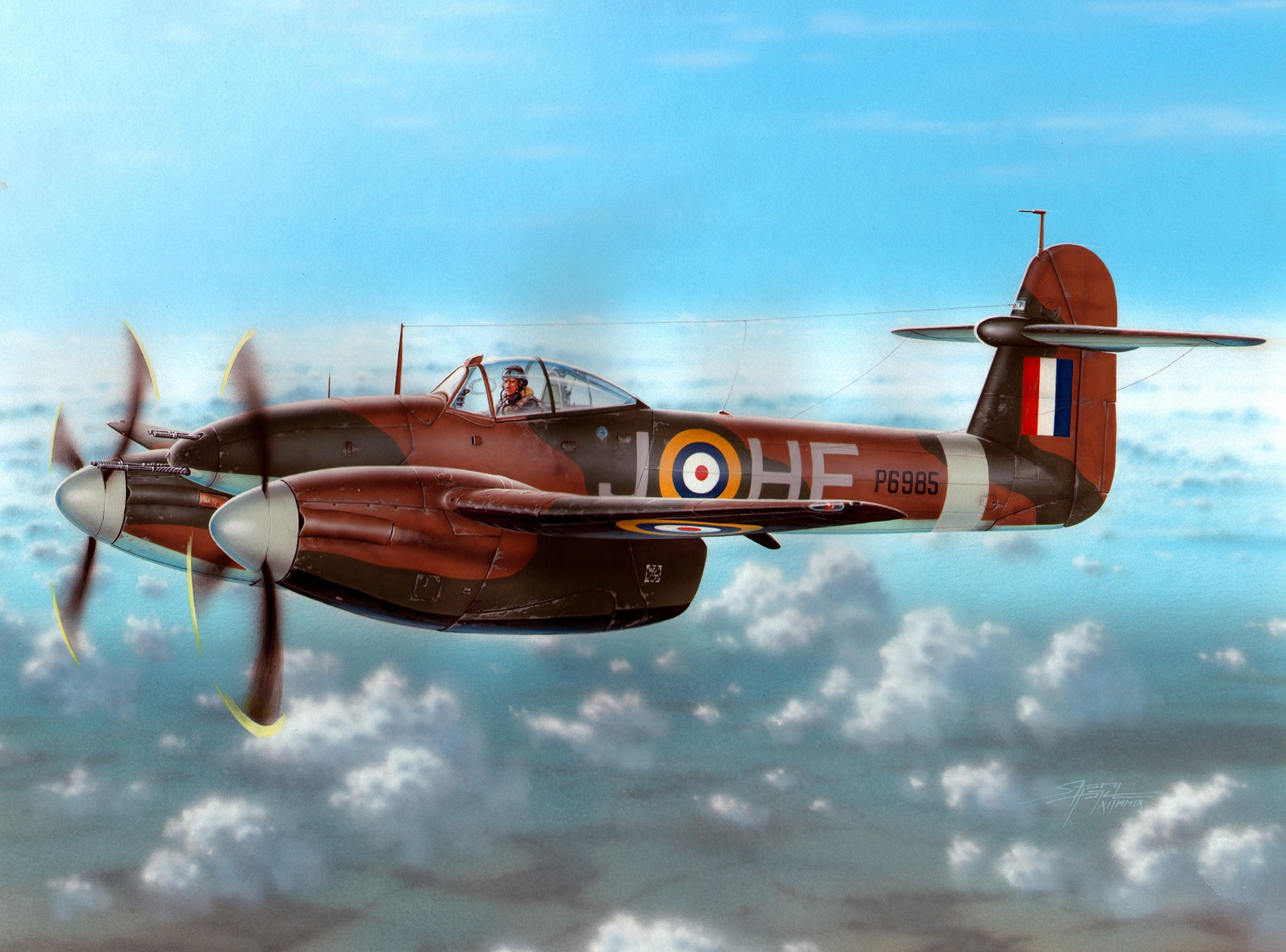 "рисунок Westland Whirlwind Mk.I ""Cannon Fighter"""