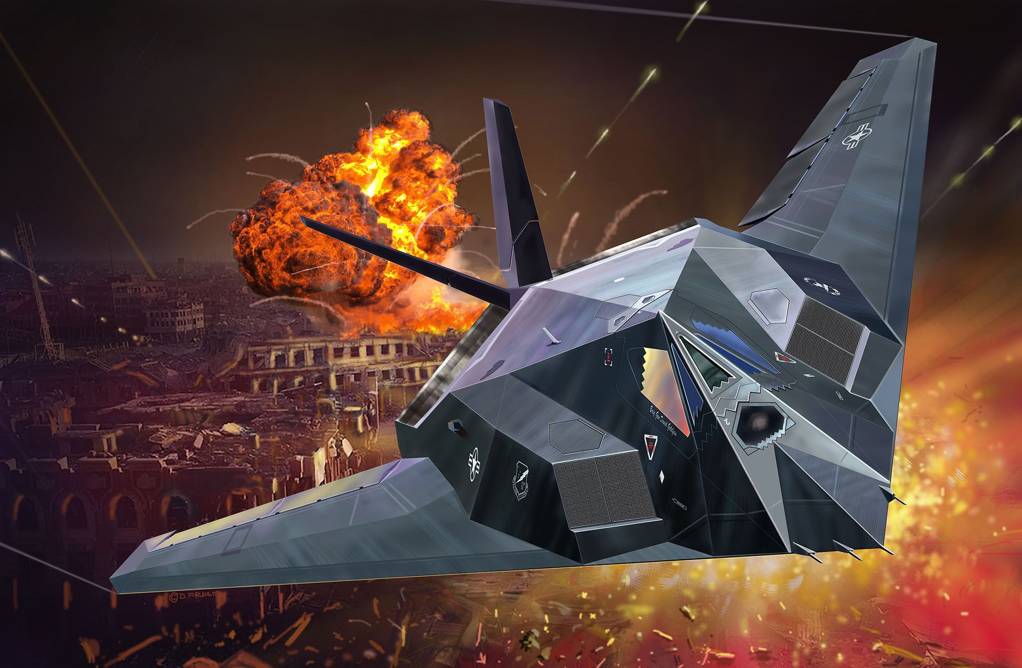 рисунок Lockheed Martin F-117A Nighthawk Stealth Fighter
