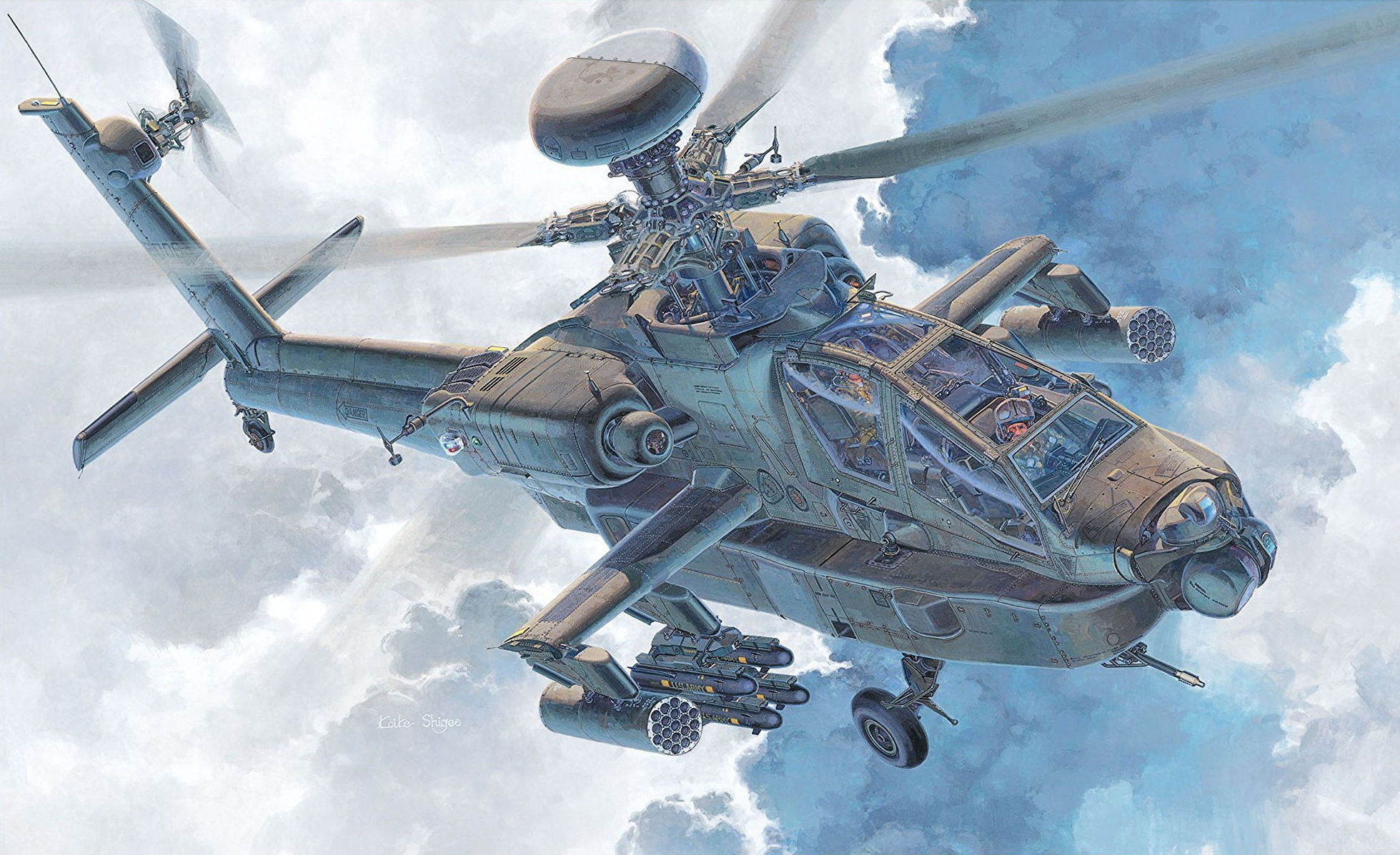 рисунок U.S. Army Attack Helicopter AH-64D Apache Longbow