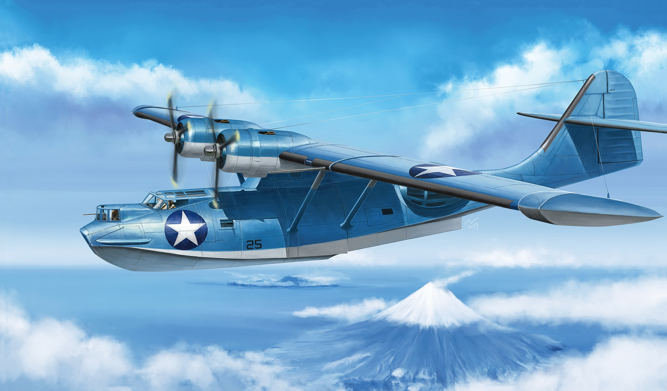 рисунок PBY-5 Catalina WW2 US Navy Flying Boat